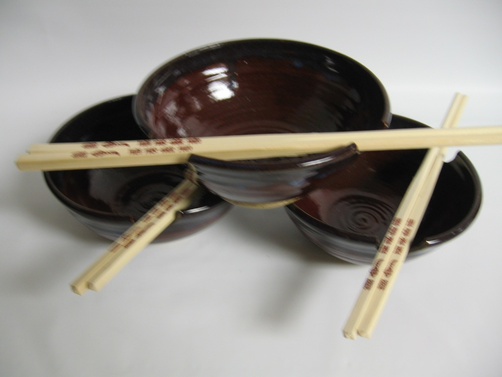 Three rice bowls
